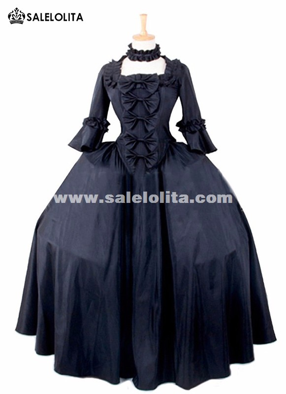 Brand New Black Gothic Victorian Vampire Halloween Party Dresses Colonial Renaissance Steampunk Historical Costumes