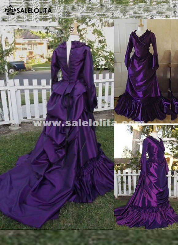 Brand New 19th Century Purple Vintage Victorian Gothic French Bustle  Dresses Wedding Renaissance Medieval Southern Belle Ball Gowns Reenactment