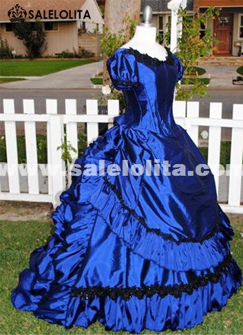Brand New Blue Vintage Victorian Bustle Dresses Renaissance Medieval Southern Belle Wedding Ball Gowns Halloween Reenactment Clothing