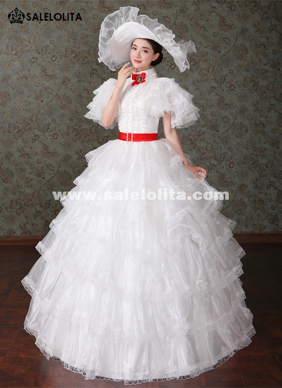 Brand New White Marie Antoinette Renaissance Princess Wedding Dresses Southern Belle Lolita Tea Party Costumes
