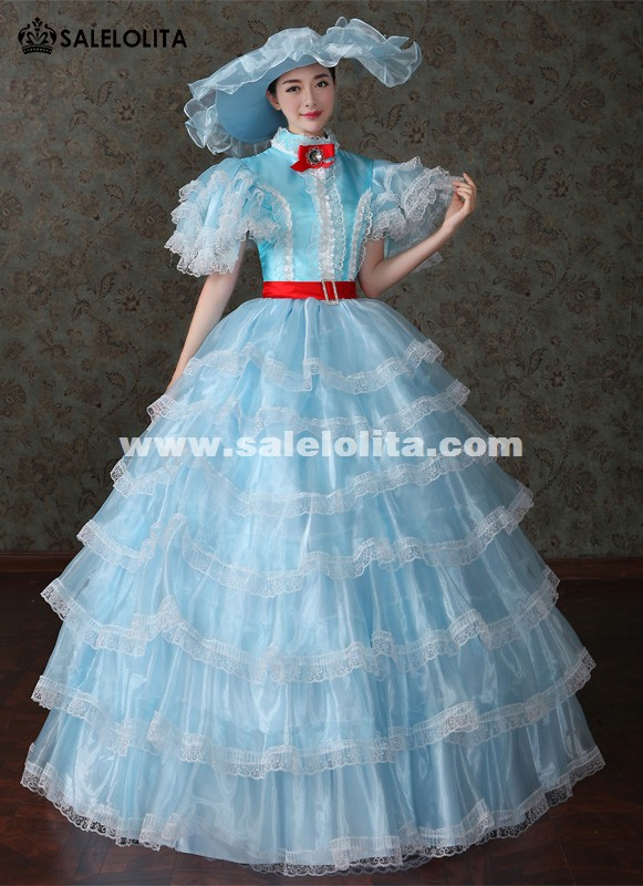 Brand New Blue Marie Antoinette Princess Renaissance Medieval Wedding Dresses Southern Belle Lolita Tea Party Costumes