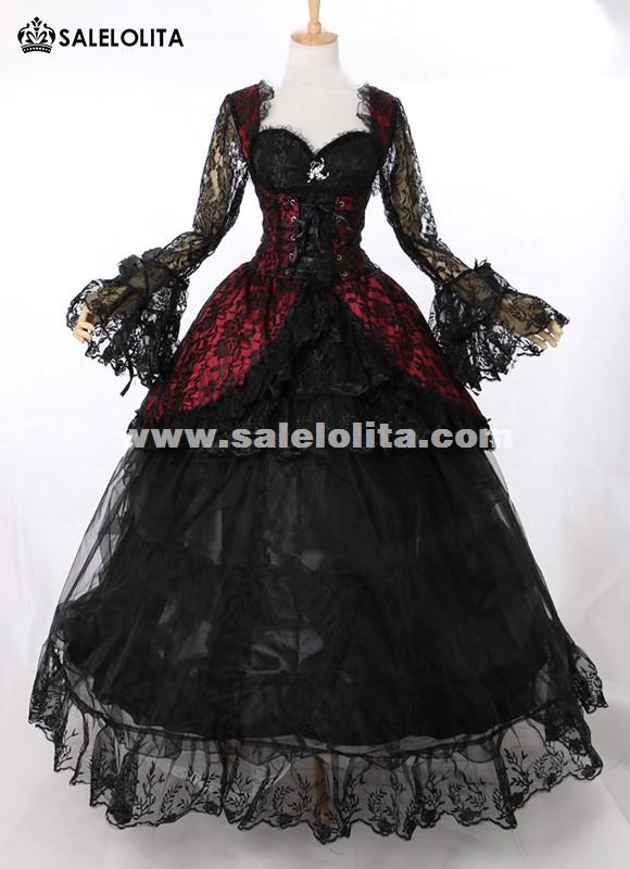 18th century victorian lolita schwarz masquerade gown halloween vampire gothic lace dress