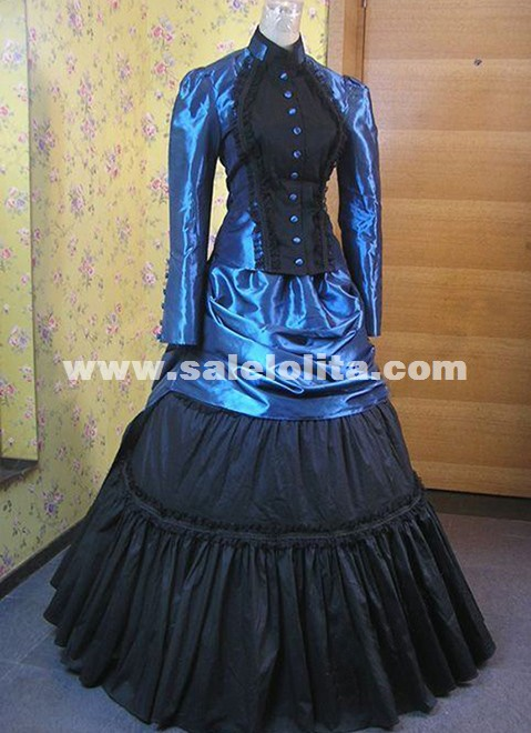 Victorian Edwardian Downton Abbey Titanic Bustle Blue Dress Period Gown Riding Theatre Costume