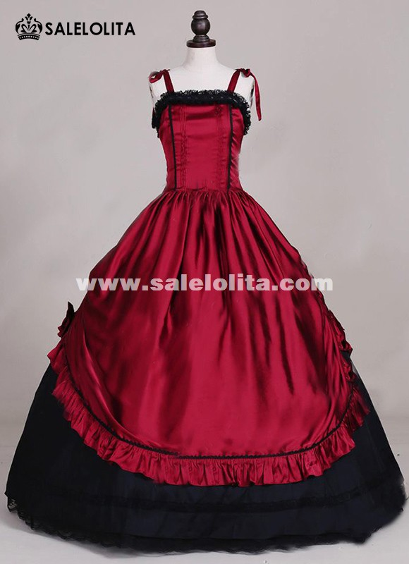 Gothic Victorian Queen Romantic Corset Bodice Red Dress Rococo Wedding Carnivale Gown