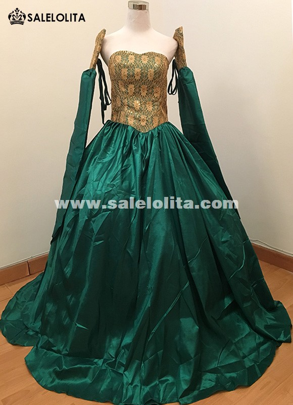 1860S Civil War Gown Ball Dress Medieval Victorian Bustle Carnival Sexy Long Green Dress Movie Theme Masquerade Gowns