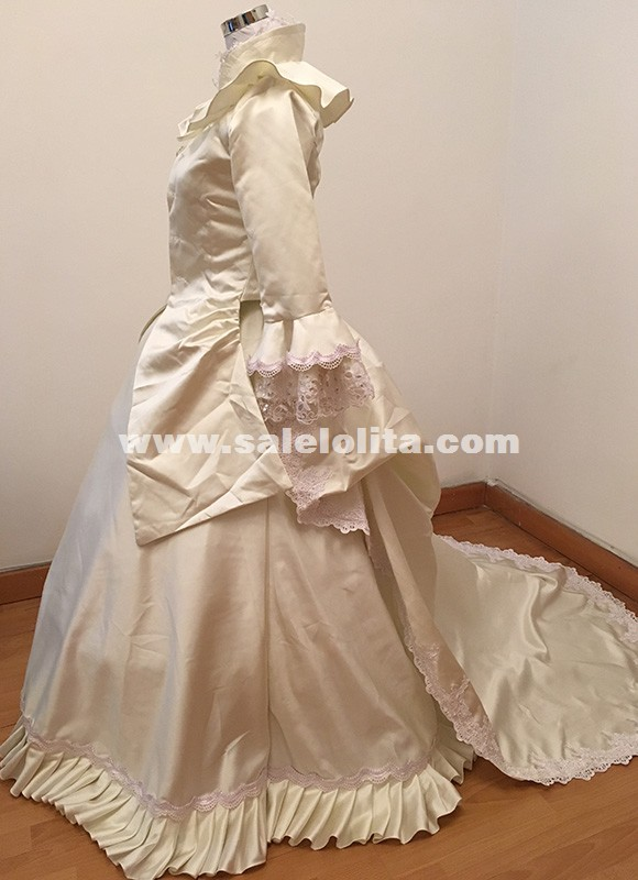 Caroline Era Carnivale Ball Gown Dress Queen Elizabeth Masquerade Costumes Victorian Bustle Princess Wedding Historical Gowns