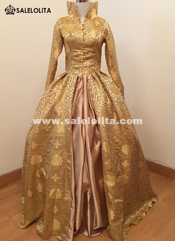 Print Brocade Long Victorian Tudor Jacquard Period Dress 17th Century Ball Gowns Costume Customized