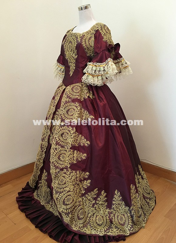 Victorian Gothic Period Prom Gown Wedding Reenactment Theatre Clothing Party Dress Marie Antoinette Dresses