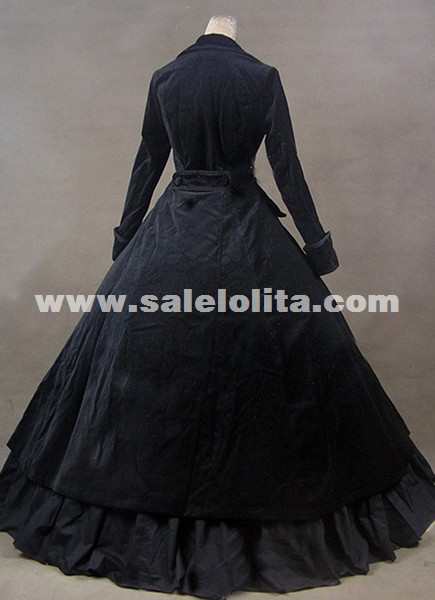 Winter Black Gothic Victorian Edwardian Dress Medieval Historical Manor Mistress Costume Carnivale Theatre Performance Gown