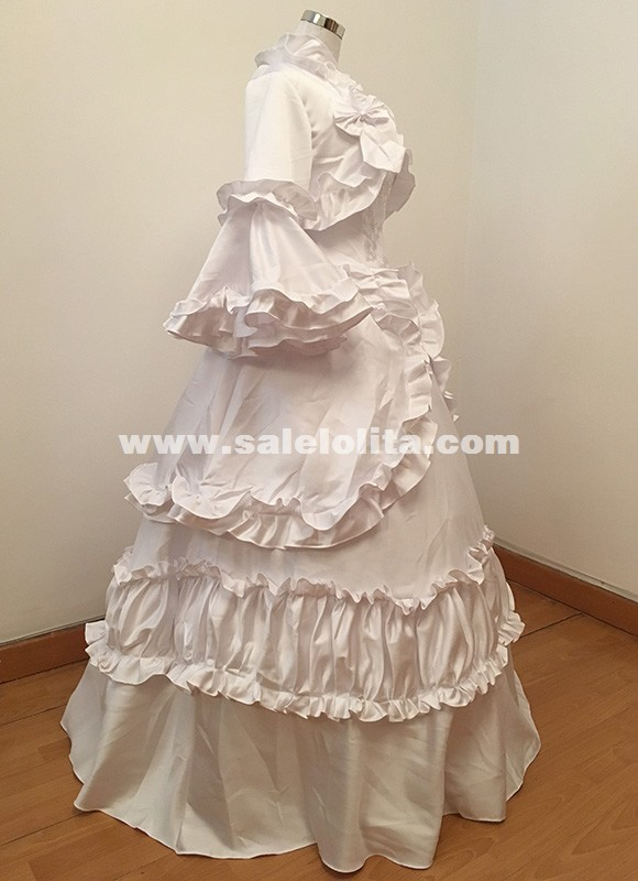 White Victorian Wedding Dress French Bustle and Swag Queen Princess Ball Gown Reenactment Theater Women Costume