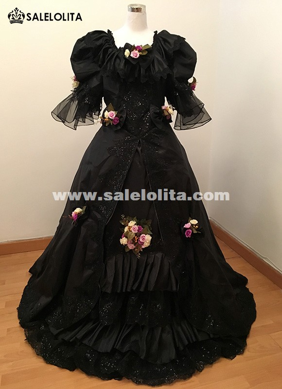 Elegant Black Medieval Masquerade Princess Dress Victorian Marie Antoinette Carnivale Ball Gown Dress