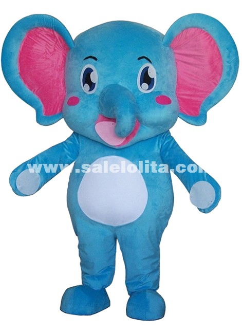 Blue Elephant Mascot Costume Adult Size Elephant Cartoon Plush Costume