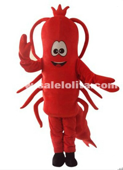 The Sea Creature Lovely Shrimp Fluffy Cartoon Costume Lobster Mascot Costume Commercial Activity Parade Costume