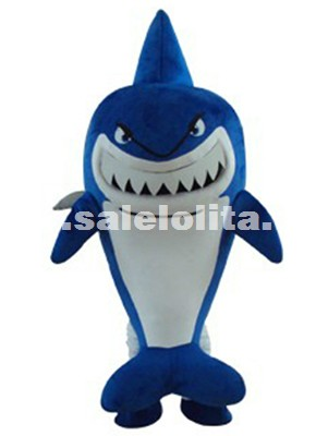 Sea Creature High Quality Blue Shark Fluffy Plush Mascot Costume