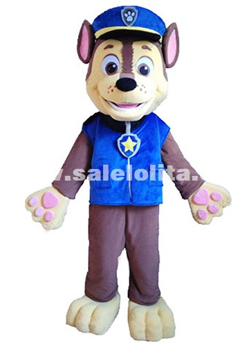 Adult Size Dog Cartoon Fluffy Plush Costume Patrol Dog Mascot Costume