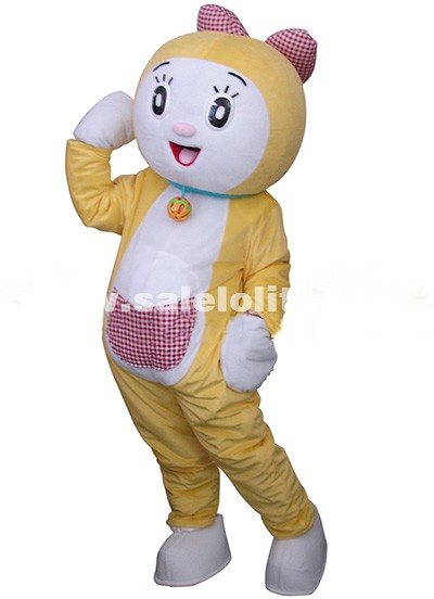 Adult Cute Doraemon Cartoon Costume Fluffy Plush Robocat Mascot Party Costume