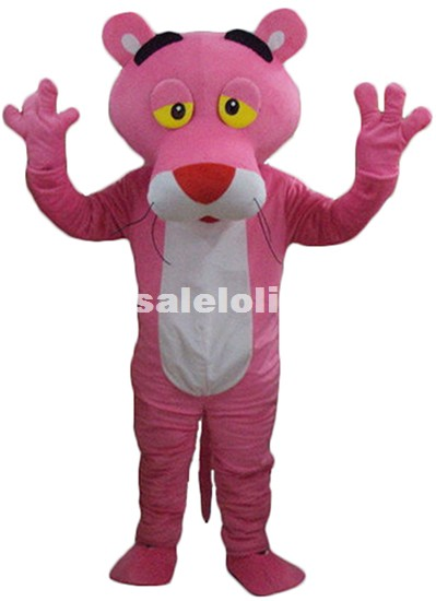 Adult Pink Panther Mascot Costume Panther Cartoon Character Fluffy Party Costume