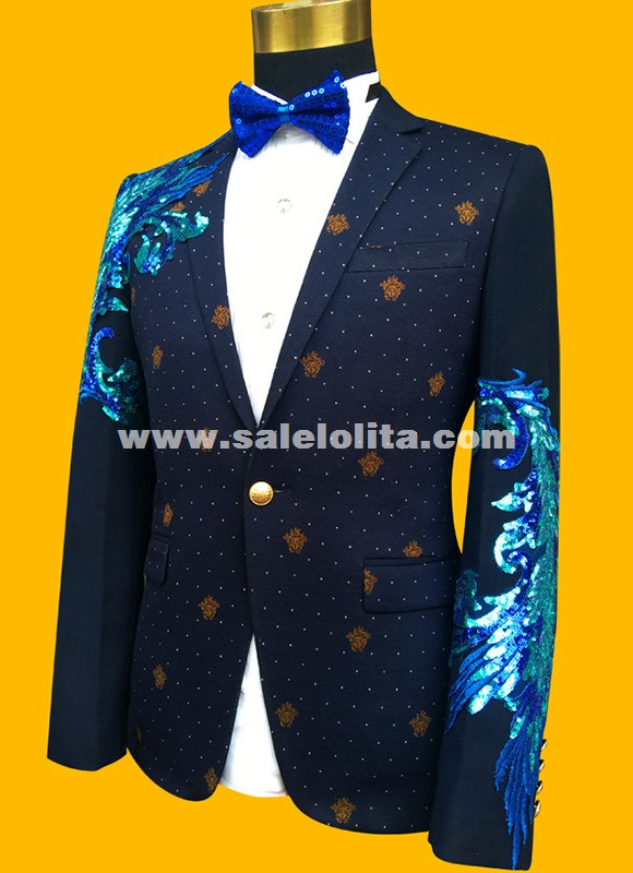 Fashion Gold/Blue Embroidered Paillette Men Wedding Suits Male Singer Slim Performance Party Prom Costumes