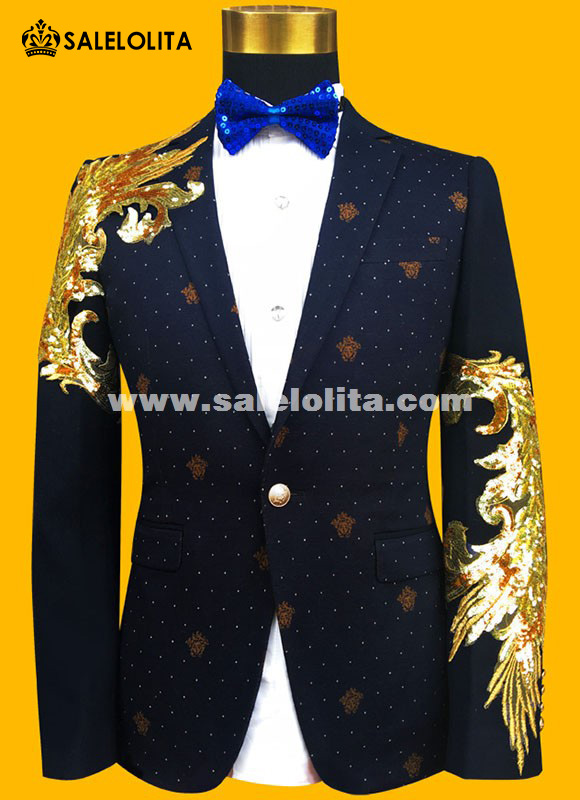 Fashion Gold/Blue Embroidered Paillette Men Suits Male Singer Slim ...