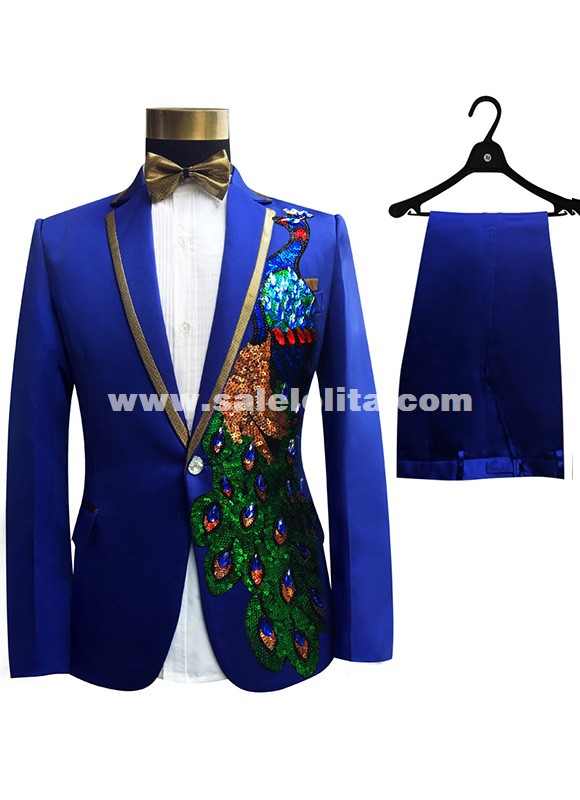 Suits Sequins Peacock Pattern Jacket/Pants Slim Black/Blue Paillette ...