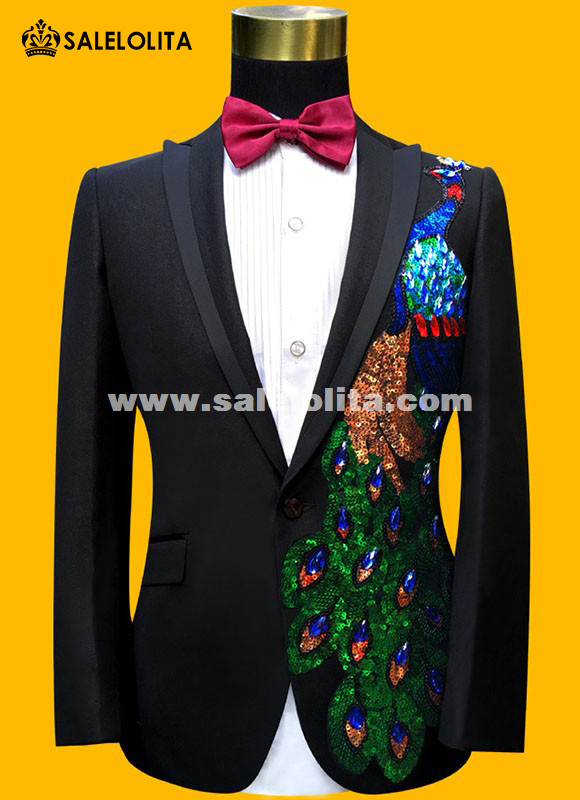 Men Suits Sequins Peacock Pattern Jacket/Pants Slim Black/Blue ...
