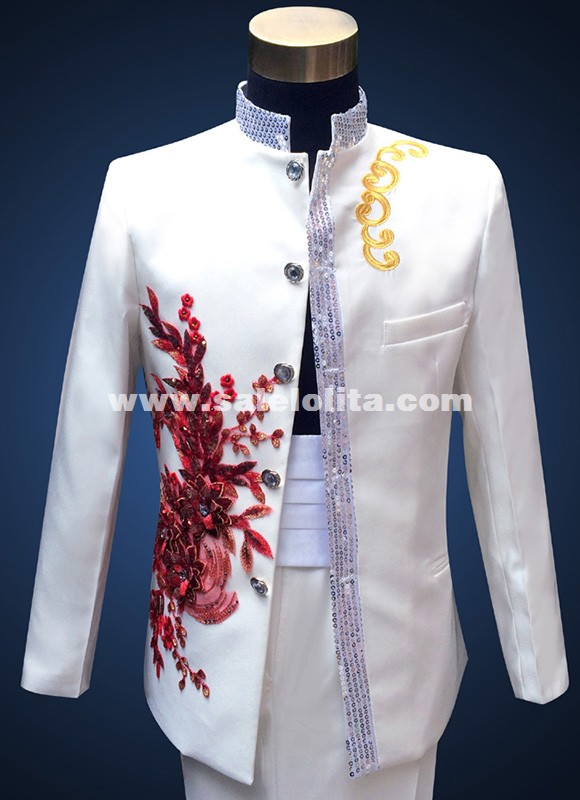 Sequins Stand Collar Men Suit Red Blue Embroidered Flowers Chinese Tunic Wedding  Suits for Men s 2fcaba97b
