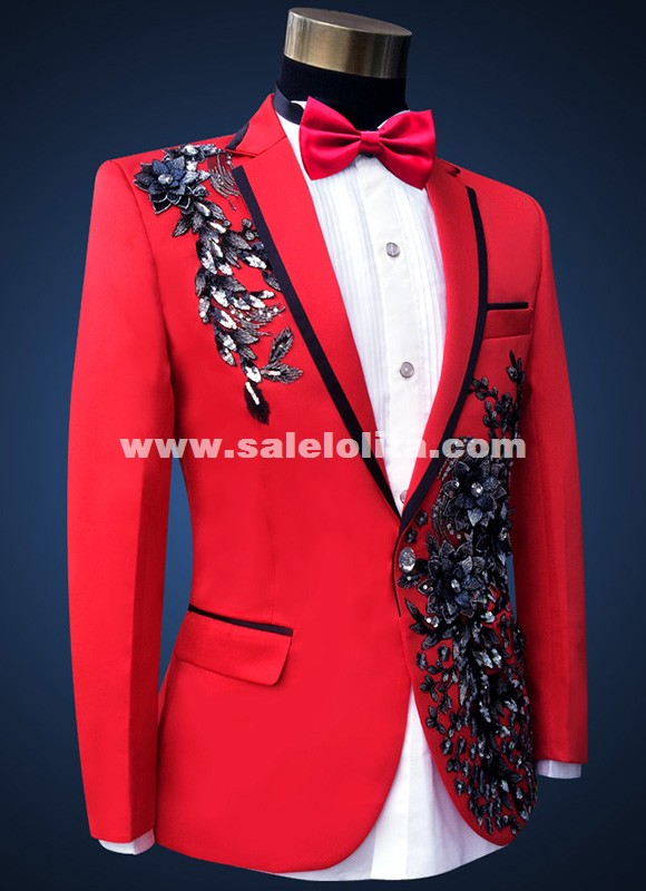 Embroidered Diamond Performance Suits Grooms Prom Formal Red Suits