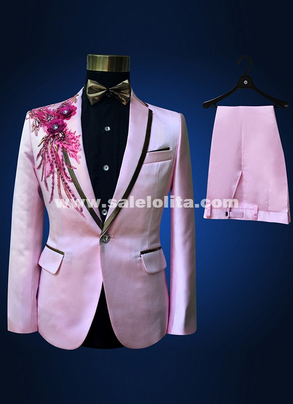 Fashion Red/Blue/Pink Embroidered Paillette Men Wedding Suits Singer Slim Performance Prom Suits