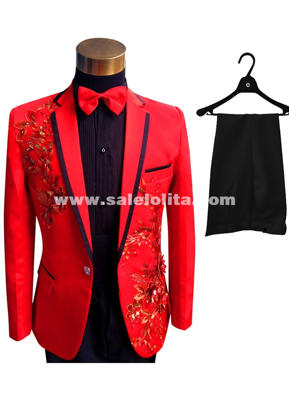 Men Suits Set Sequins Embroidered Host Wedding Suit