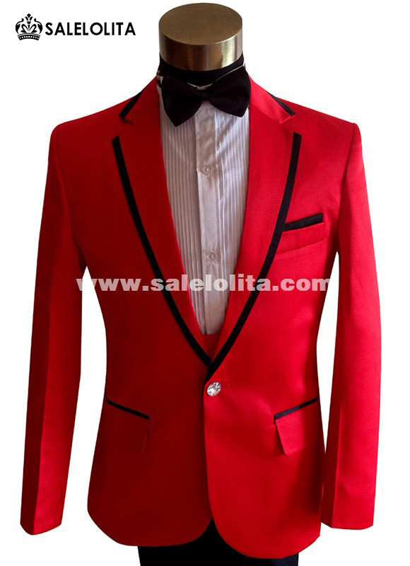 Bridegroom Party Red Suits Stage Show Singer Man Costumes