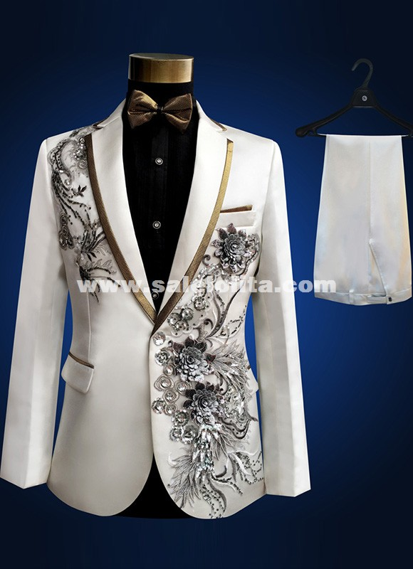 Embroidered White Suit Theatre Stage Performance Men Suits
