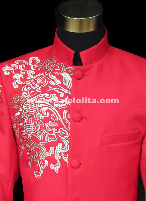 Embroidery Bridegroom Groomsmen Suits Men Vintage Red Chinese Collar Tunic Suits Men Palace Suit Black/ Blue