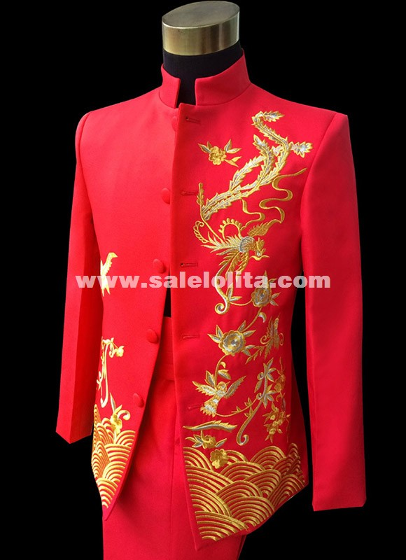 Vintage Red Chinese Collar Tunic Tradition Men Suits Embroidery Wedding Red Suits