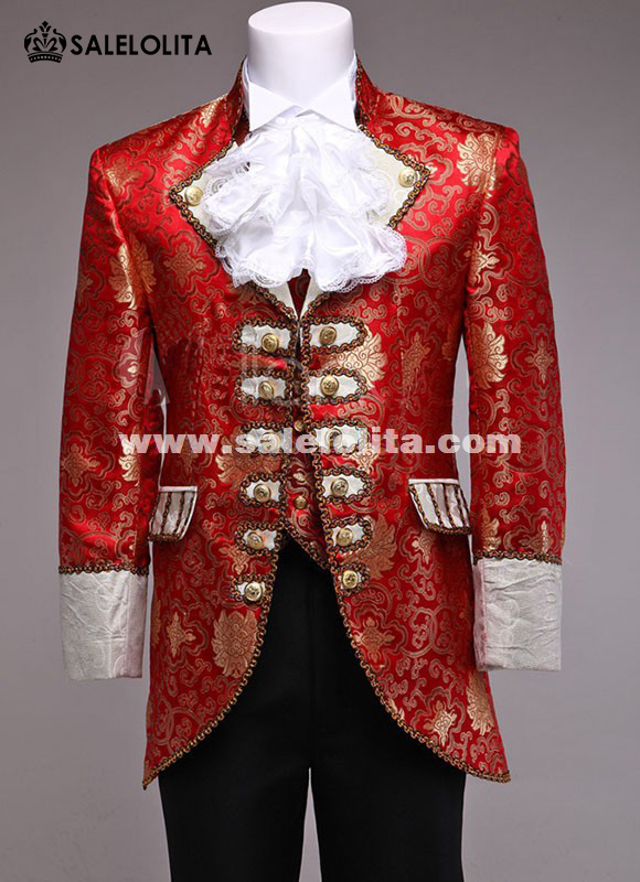 Red/Glod Men Prince William Suits Floral Renaissance Medieval King Louise Suit Period Costume