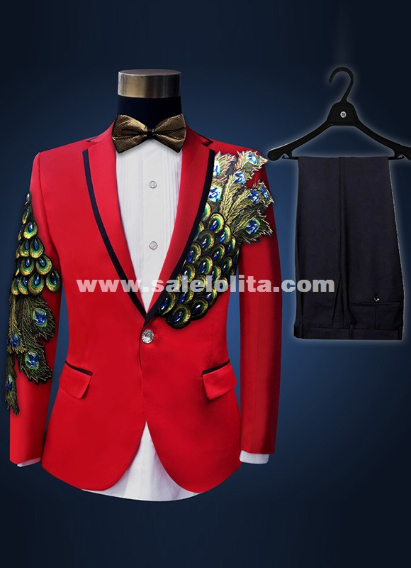 Red/Black/Red Peacock Tail Men Suits Hot Sale Stage Performance Peacock Suits