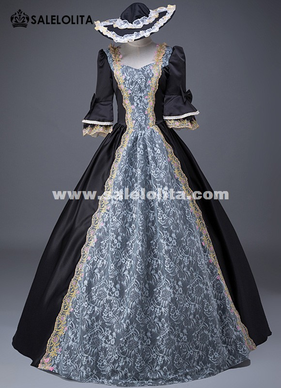 Upscale Black Gothic Victorian Historical Dress Marie Antoinette Dress Carnivale Prom Costume