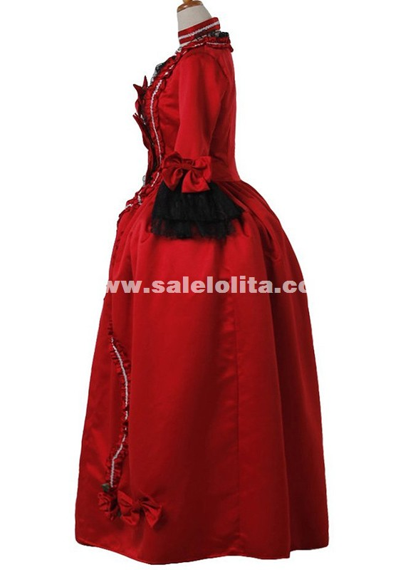 Red Medieval Wedding Gown Victorian Bustle Dress Historical Theatre Women Costume