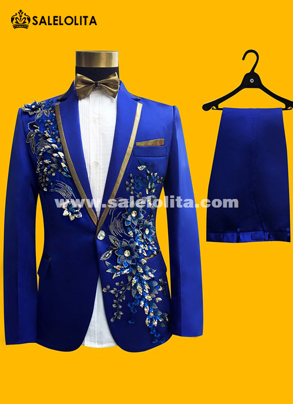 Wedding Groom Tuxedos Paillette Embroidered Male Performance Party Prom Blue Blazer Suit