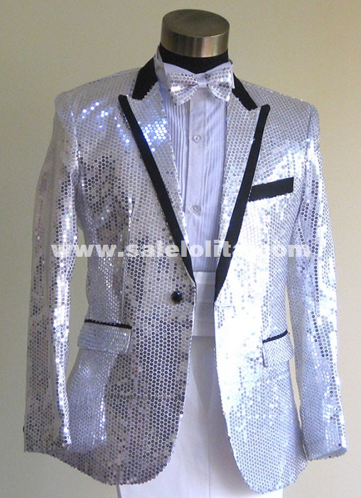 Plus Size White/Red/Blue/Black Sequins Suit Theater Men Costume
