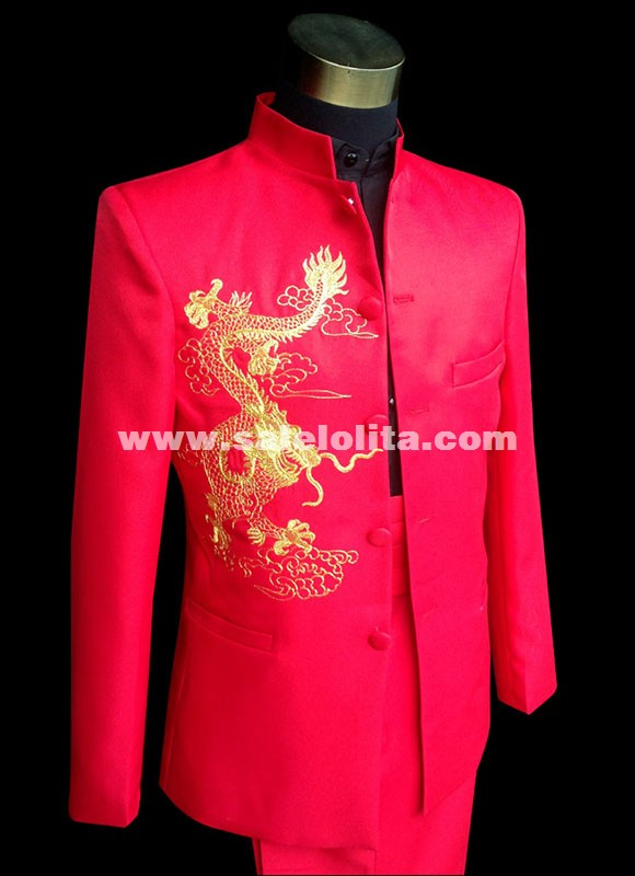 Red Embroidered Dragon Totem Chinese Tunic Wedding Suit Theater Performance Show Suit