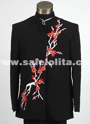 Chinese Collar Tunic Tradition Men Suits Theater Stage Embroidery White/Black Suits