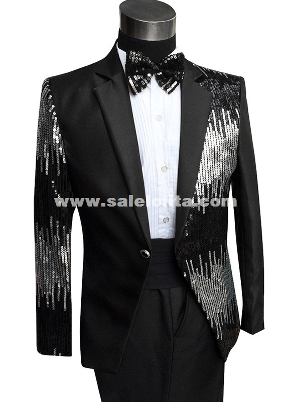 Sequins Groom Suit Fashion Blazer Prom Tuxedo Men Suit Set