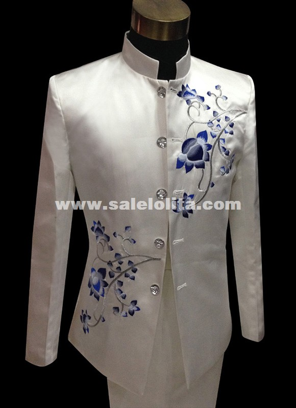 Mens Porcelain Embroidered Stand Collar Tuxedo Suit Wedding Stage Blazers Suit