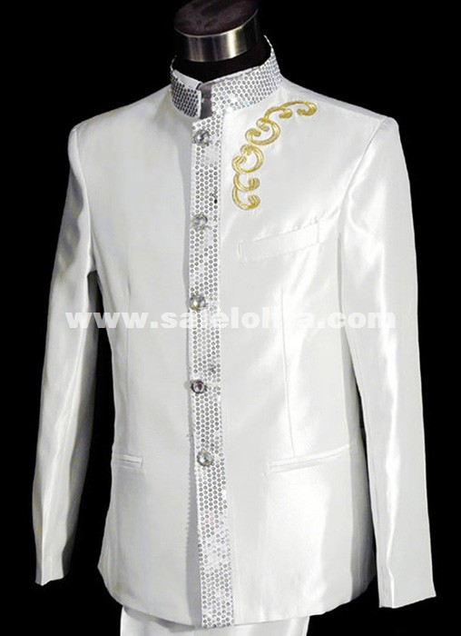 Collar Tuxedo Men White Suit Wedding Prom Tuxedos Stage Performance ...