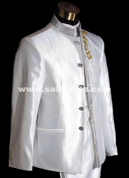 Stand Collar Tuxedo Men White Suit Wedding Prom Tuxedos Stage Performance Theater Men Costume