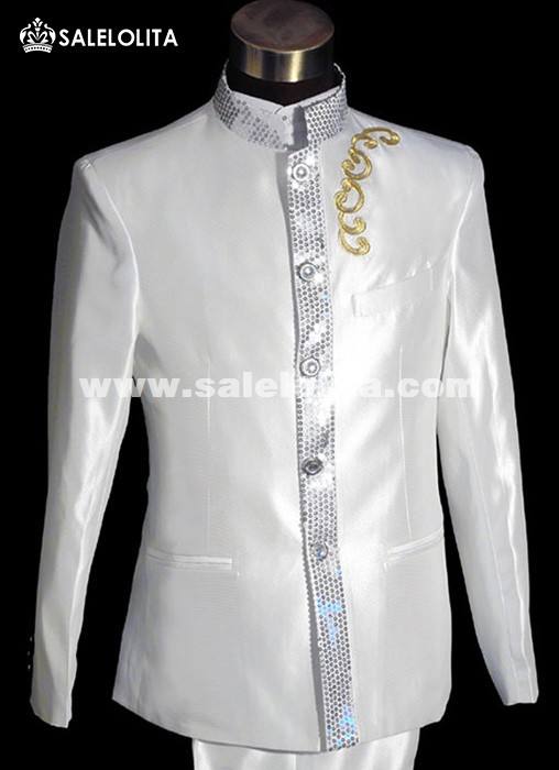 Stand Collar Tuxedo Men White Suit Wedding Prom Tuxedos Stage ...