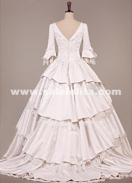 Medieval Wedding White Dress Victorian Gothic Prom Gown Masquerade Dress