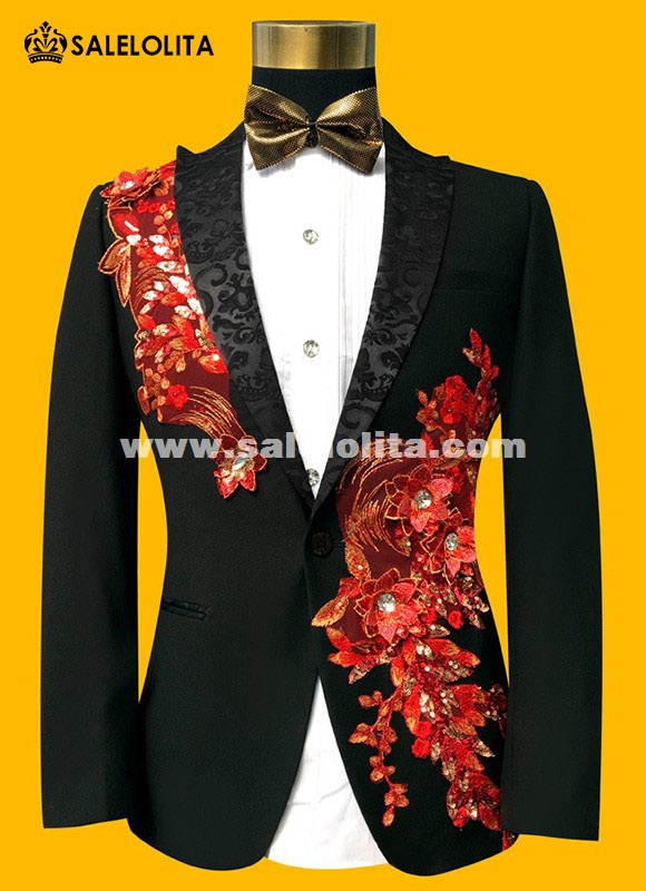 Black/Blue/Red Paillette Embroidered Retro Gentleman Style Men Prom ...