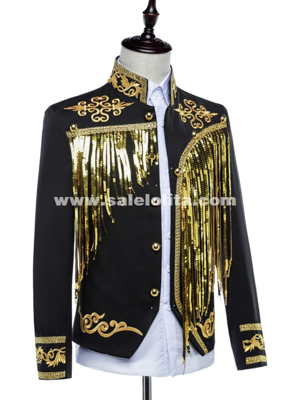 Royal Knight Suit Men White/Black European Vintage Prince Charming Costume Outfit