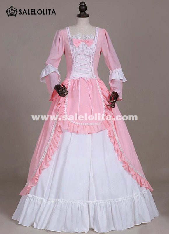 Renaissance Princess Period Prom Pink Dress Gown Theater Clothing